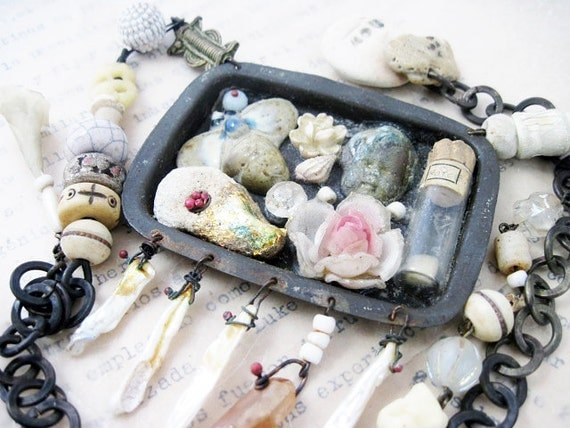 Farewell to Glory. Rustic Victorian beach collage found object assemblage necklace.