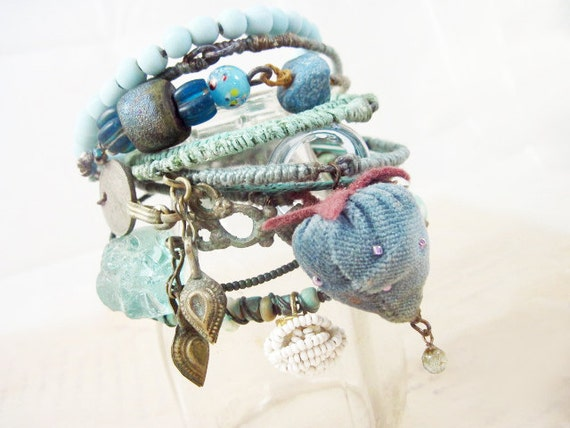 Liquid Light 3. Blue Green Rustic Gypsy Bangle Stack, bracelet set.