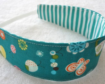 Teal white stripes flowers butterflies bugs reversible cotton headband, baby toddler girl child adult cloth party favor gift hair wrap scarf