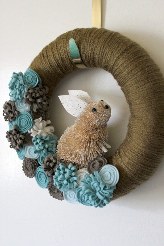 Blue Bunny Wreath Easter Wreath Rabbit Wreath Spring