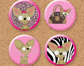 """Chihuahua Magnet Set of 4 1.25"""" 1-1/4 inch"""