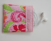 Earphone Earbud Holder Carrier Velcro Closure Pouch Bag - Pink