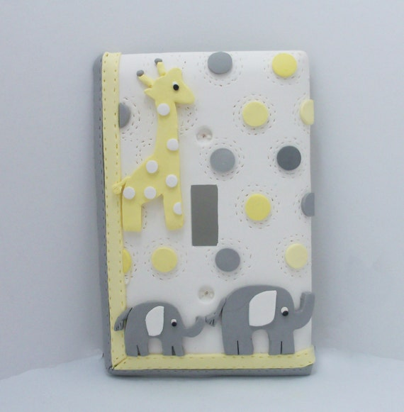 Giraffe And Elephant Light Switch Or Outlet Cover By