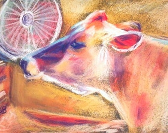 """Cow Painting, 5 x 7 Original Pastel, """"Cool Cow"""" by BethanyBryant"""