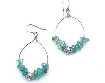 Apatite Hoops -- Sterling Silver Oval Hoops with Apatite and a Sterling Flower
