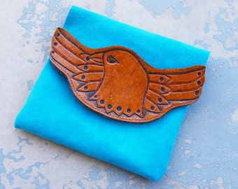 Tooled Leather Clutch - Soaring Eagle Brown and Turquoise Blue Pouch - Custom Made to Order