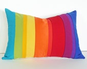 Rainbow Pillow, Colorful Striped Throw Cushion Covers, Color Block, Unique, Eclectic, Eco Chic, Oblong, Color Band, Color Blocked, 14x20