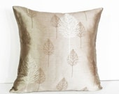 Taupe Tree Pillows, Iridescent Taupe Pillow Cover, Sophisticated Modern, Neutral, Couch Cushion, Fall Home Decor 18x18
