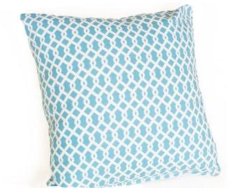 Blue Pillow Cover, Trellis Pillow, Blue White Pillows, Blue Throw Pillows, Turquoise Pillow, Cushion Covers, Spring, 14x18, 18X18, Sale