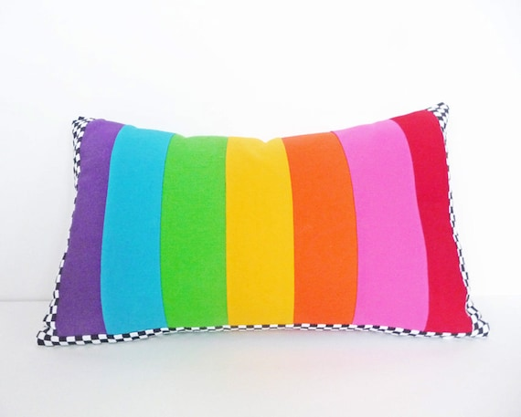 Color Block Pillow, Colorful, Whimsical, Childrens, Nursery Toss Cushion, Black White Checks, Colorful Striped Cushion Cover, Eclectic 12x20