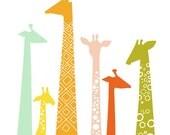 """1/2 OFF SALE! 5X7"""" giraffes giclée print on fine art paper. rainbow with light mint"""