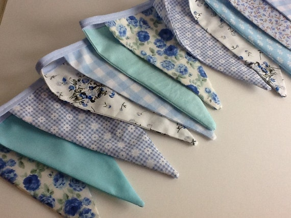 Blue Dainty Bunting - Fabric Garland, Wedding Bunting, Mothers Day Gift