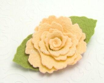 Wild Rose Hair Clip, Felt Flower Clip, Pale Peach Blush Rose Clip, Girls Felt Flower Headband Boho Baby Toddler Girls, 85 colors