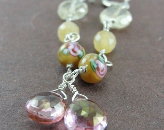 Citrine, Honey Jade, Mystic Pink Quartz and Vintage Rose Ultra Long Shoulder Sweeper Cascade Earrings by Screaming Peacock Jewelry