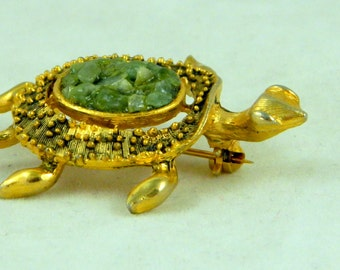Vintage Turtle Pin Brooch with Adventurine
