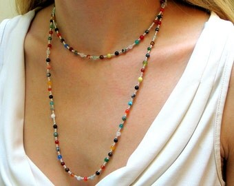Colorful Long Stone Beaded Necklace, Mixed Agates and Stones Layering Hippie Chain