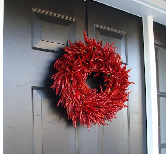Organic Red Chili Pepper Wreath Kitchen By Elegantwreath