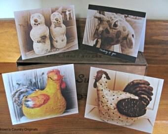 Folk Art Blank Note Card Variety - set of 4