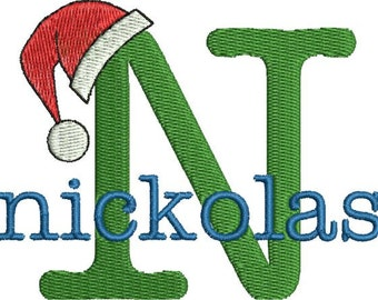 Christmas Santa Claus Hat Machine Embroidery Monogram Fonts Designs Instant Download Sale