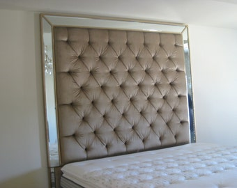Headboard King Size Upholstered Headboard Headboard with Mirrors Tufted Headboard Custom Headboard Bed