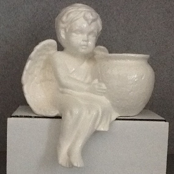 White Cherub Ceramic Shelf Sitter Planter By Suesuesuecrafts