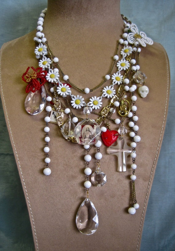 Pray for Spring Redux: Vintage Assemblage Necklace White Daisy Flowers Heart Cross Religious Medallions Statement One of a Kind ooak