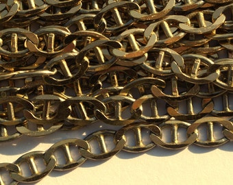 Faceted Bar Brass, 1 Meter Faceted Bar Raw Brass Soldered Chain (4.5x7.5x1mm) - W59