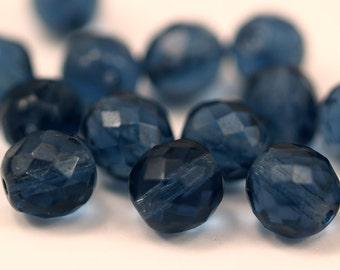 Vintage Blue Beads, 10 Vintage Glass Faceted Navy Blue Beads  (10mm) Cv22      457