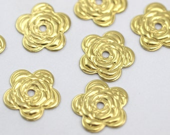 Rose Bead Caps, 40 Raw Brass Rose Shape Bead Caps, Findings (11mm) A490