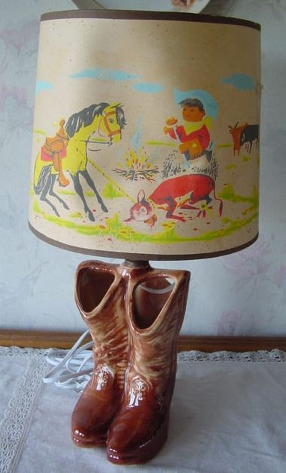 1950s Mccoy Pottery Western Cowboy Boots Lamp With Original