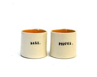 petite hand built porcelain salt and pepper cellars ... vessels  ... salt pig