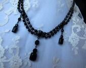 SALE Vintage Necklace,Victorian Style ChokerDownton Abby,Jet Black Drop Necklace,Wedding Jewelry, Statement Jewelry, Vintage Jewelry, 9564