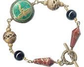 Buddha's Tear Om Aum brass wire-wrap chunky gemstone unisex bracelet