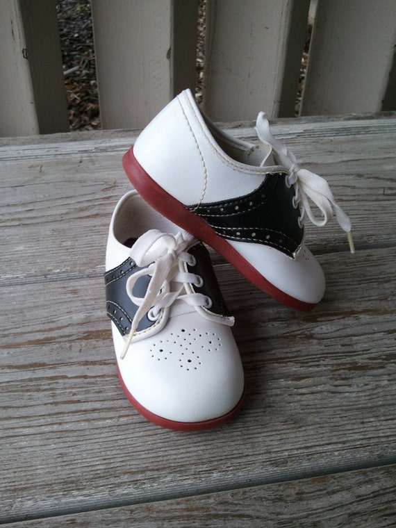 Dyna Kids Black White Saddle Oxford Baby Shoes