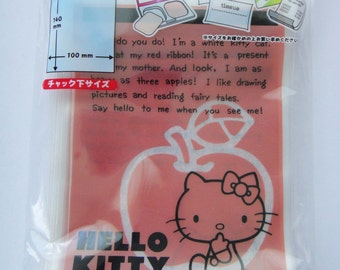 Sanrio Hello Kitty Transparent Red Ziplock Resealable Polythene / Plastic Bags - Pack Of 20 - Hello Kitty With Apple - 14cm x 10cm