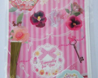 """Cute Flowers, Keys & Bows Pink Stripy """"Especially For You"""" Japanese Plastic Gift Bags / Party Bags / Wrapping Bags With Gift Tags"""