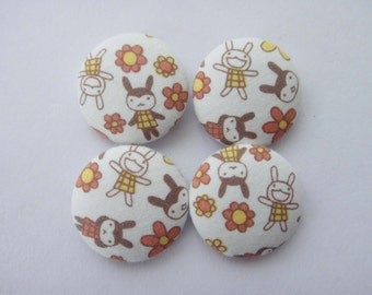 Cute Usagi Bunny Rabbits & Flowers Aranzi Aronzo Japanese Cotton Fabric Covered Buttons For Sewing - Set of 4 - 27mm