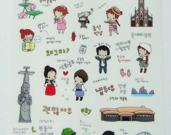 Cute Little Red Haired Girl Plastic Travel Stickers From Korea - Korean Theme - Princess, Hot Spring, Monkey, Ship, Mud, Flower, Chilli