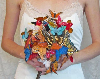 Butterfly Wedding Bouquet, in Oranges, Reds, and Blues for your Wedding, Example Only!! DO NOT PURCHASE