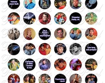 Star Trek - Original Series - One Inch Circles - For Pendants Magnets - Crafts - Digital Collage Sheet - INSTANT DOWNLOAD