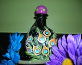 """Decorative hand painted small wine bottle- A Little Piece of ART- """"Mini Peacock"""""""