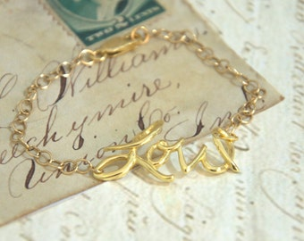 fashion jewelry/ Wirework Bracelet/ Bridesmaid Jewelry/ LOVE jewelry/ Gold Filled Bracelet/womeb bracelet/christmas gift for her
