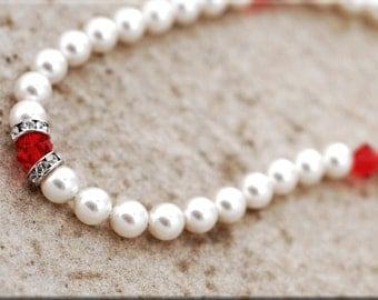 Pearl and Red Crystal Dog Necklace