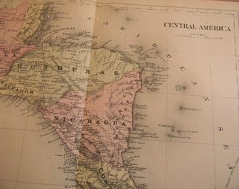 1903 Map Central America - Vintage Antique Map Great for Framing 100 Years Old