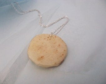 "WHOLESALE Real Lefse Pendant on a 16"" chain. Scandanavian Style. Lovely Lefsa Free shipping."