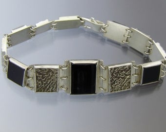 Onyx and Reticulated Sterling Silver Link Bracelet
