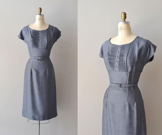 vintage 50s dress / 1950s dress / Gunmetal Silk Pleat dress