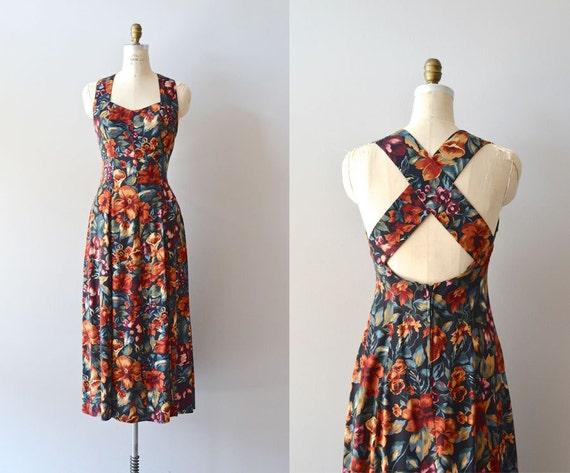 vintage floral dress / 1980s floral sundress / Kirstenbosch