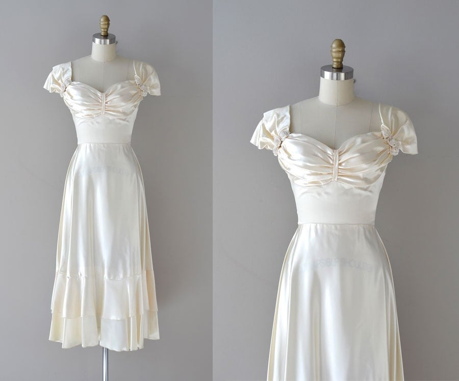 1940s Wedding Dress / Vintage 40s Dress / Darling Dear