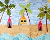 Baby quilt- beach, island-themed, cabanas, surfboard, sea turtle, starfish, palm trees, sun MADE TO ORDER